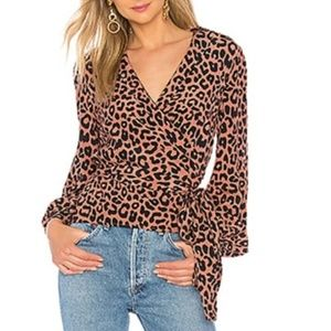 Lovers + Friends NWT Mikayla Blouse Bold Cheetah S